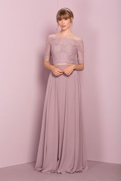 ==> [Free Shipping] Buy Best 2107 Two Pieces Bridesmaid Dresses Long Lace Top Chiffon Skirt Off the Shoulder Modern Women Formal Wedding Party Dresses Robes Online with LOWEST Price | 32808685880