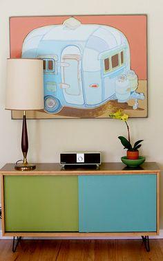 Home Made Lovely - Greta's Home Tour | Life Made Lovely. I like the green & blue sliding doors.