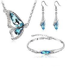 18k White Gold Plated Blue Crystal Butterfly Necklace, Bracelet and Earring Set CrystalGemsStore http://www.amazon.co.uk/dp/B00TXYK4BY/ref=cm_sw_r_pi_dp_OVN.vb1EYVJQG