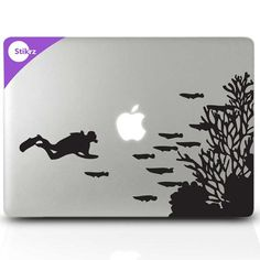 Mac stickers Mac book decals Macbook Stickers and Laptop Stickers  - Nautical Decor Fish Tank - Decal 196