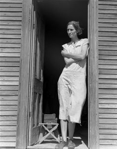 """Dust, Drought, and Depression #3 -- Woman of the High Plains, """"If You Die, You're Dead –That's All."""" -- Wife of a migratory laborer with three children. Near Childress, Texas. Nettie Featherston; photo by Dorothea Lange, June 1938.  """"I just prayed and prayed and prayed all the time that God would take care of us and not let my children starve…""""   http://www.zazzle.com/exit78/woman+of+the+high+plains+gifts  http://www.zazzle.com/exit78*"""