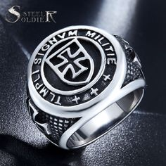 Steel soldier New Arrival cross Knights Templars ring men stainless steel unique jewelry exquisite men biker ring
