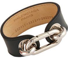 Balenciaga Palladium and Leather Medallion Cuff $285 via Barneys