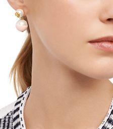 5218a07f3 Black/ivory/shiny Gold Tory Burch Dipped Evie Drop Earring