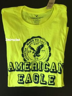 American Eagle Mens SUMMER Classic Graphic Yellow Long Sleeve Neon Shirt L #AmericanEagle #ClassicGraphic