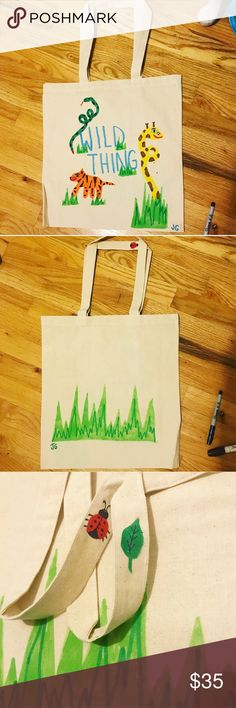 Wild thing hand painted canvas tote bag Hand painted by @jessicagoldsmithart (insta). Wildly cute tote bag with jungle animals on the front and grass on the back. Check out the handles for a lil baby lady bug and leaf!! Jessica Goldsmith Art Bags Totes