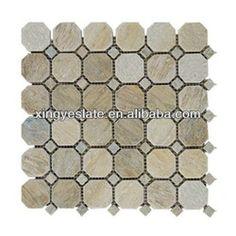 Kid's bathroom  Natural stone hexagon mosaic tile
