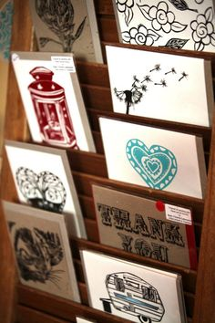using a timber shutter to display greeting cards ~ Matilda's Market
