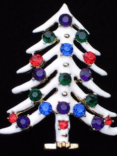 "GOLD WHITE MULTI PURPLE GREEN BLUE RED CHRISTMAS TREE PIN BROOCH JEWELRY 2"" 3D #Unbranded #PINBROOCHJEWELRY"