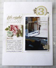 Memory Keeping Tip | Use a sewing machine (or hand-stitch) lines for journaling. Stamp is June Studio AE.