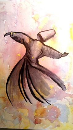 SUFİ WHİRLİNG DERVİSH Original watercolor painting by serifece