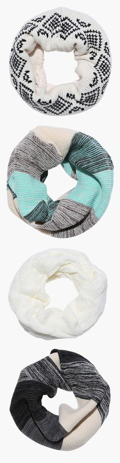 LOVE these infinity scarves - in colors like white, black, teal, and more! Colorful Scarves, Winter Scarves, Infinity Scarfs, Sweater Scarf, How To Wear Scarves, Fall Weather, Scarf Styles, Beanie Hats, Streetwear Fashion