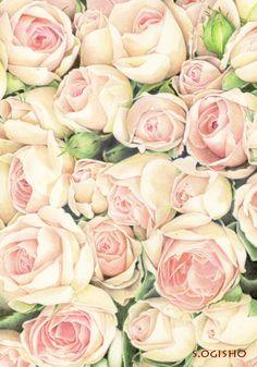薔薇−1 Paper Wallpaper, Paper Background, Watercolor Print, Colored Pencils, Flower Art, Leaves, Rose, Flowers, Plants