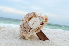 Non-floral bouquet of Ribbon flowers and pieces of burlap. Perfect for travel to a destination beach wedding.