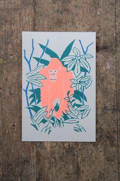 """Soshiki Daisuke post card """"gorilla"""""""