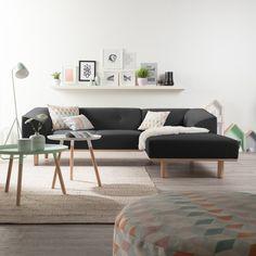Ecksofa Aya in Anthrazit mit Longchair rechts jetzt online kaufen | Home24