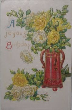 Vintage Embossed Birthday Postcard by buzzybea on Etsy