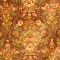 Posh Victorian Ornate Floral Printed Brushed Cotton Velveteen Drapery Upholstery Fabric in Warm Autumn Colors