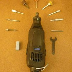 A basic high-speed rotary tool and an assortment of compatible bits