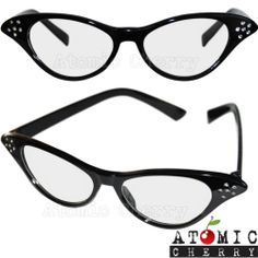 50's Cat Eye Clear Glasses Retro Rockabilly Pin Up Tipped Pointed Costume Grease