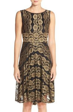 Gabby Skye Metallic Lace A-Line Dress available at #Nordstrom