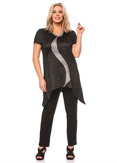 This outfit from TS14+ uses an unusual curvy shape to slim your body. It's elegant & has good reviews. Note how they have added a silver necklace that follows the neckline to draw your attention upward.