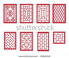 Set of Chinese pattern window with frame - stock vector …