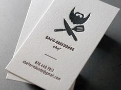 fairly clean layout on nice heavy paper stock (http://theultralinx.com/2012/10/clean-minimal-business-cards-inspiration.html)