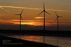 Ein goldener Herbst in Holland 1. by dirkwiemann  Abendrot Herbststimmung Holland Sonnenuntergang Windenergie Windkraft Windmühlen dirkwiemann