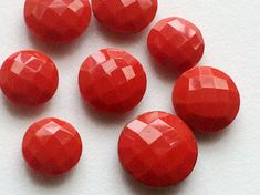 WHOLESALE 13 Pcs Coral Stones Checkered Both Side by gemsforjewels