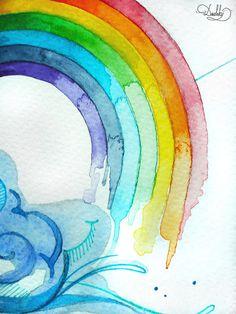 illustration by #dushky | #art #illustration #painting #watercolor #tattoo #design #rainbow #geometric
