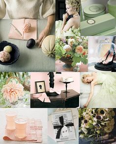 Mood: modern romantic  Palette: melon-mint green, pale grapefruit pink, black avocado