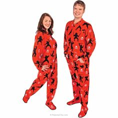 Footed Pajamas for Men Pirates vs. Ninjas Fleece with Butt Flap 4a7842789