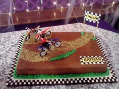 Motorcycle Birthday Cakes, Dirt Bike Birthday, Motorcycle Cake, Motorcross Cake, Dirt Bike Cakes, 8th Birthday Cake, Birthday Ideas, Truck Cakes, Homemade Birthday Cakes