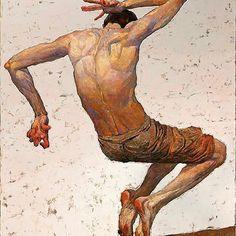"""Pantomime no.8"" by Ukrainian artist Denis Sarazhin @denis_sarazhin #flailing #jumping #movement #bodyinmotion #dance #tippytoes #amansbody #frustration #flippingout #spazzing #losingit #arte #kunst #portraitofman #art #ukrainianartist #denissarazhin #pantomime #painting #oilpainting #oilonpanel #oilonboard #kharkov #themaleform #figurativeart #peinture #pintura #pittura #живопись #рисунок"