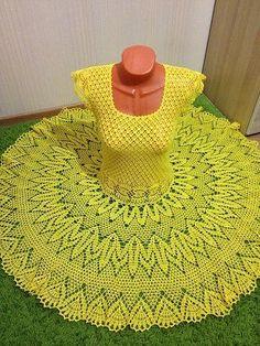 crochelinhasagulhas: Vestido amarelo em crochê
