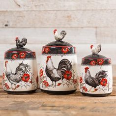 Rooster Canister Set - Set of 3 - Cracker Barrel Old Country Store Chicken Kitchen Decor, Rooster Kitchen Decor, Rooster Decor, Red Kitchen, Farmhouse Kitchen Decor, Farmhouse Style, Kitchen Ideas, Country Kitchen, Kitchen Design