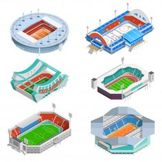Buy Stadium Icons Set by macrovector on GraphicRiver. Sport stadium isometric icons set with football and hockey stadiums isolated vector illustration. Editable EPS and Re. Web Design, Game Ui Design, Icon Design, Flat Design, Graphic Design, Isometric Art, Isometric Design, Icon Set, Concert Stage Design