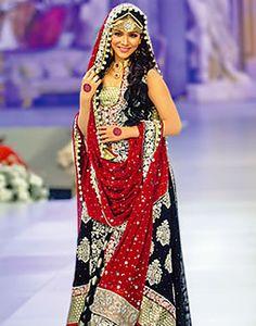 2015 trendy bridal lehenga designs for indian wedding Black Bridal Dresses, Asian Wedding Dress, Pakistani Wedding Outfits, Bridal Lehenga Choli, Pakistani Wedding Dresses, Bridal Outfits, Indian Dresses, Indian Outfits, Lehenga Skirt