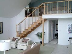 Beautiful Oak Staircase at this Wixom Lake Waterfront Home.  5435 Oakridge, Beaverton, MI.
