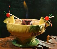 Bo Ling's Shanghai Scorpion Bowl ($15). The tropical drink is large enough for two and served in a ceramic bowl with Hawaiian hula dancers on the sides and a volcano in the middle. After slowly walking the sloshy drink to you table, the bartender takes out a lighter and ignites the Bacardi 151 rum in the volcano. The blueish flame burns for a solid 10 minutes. The Scorpion Bowl recipe calls for light rum, brandy, sweet and sour mix, pineapple and orange juice.