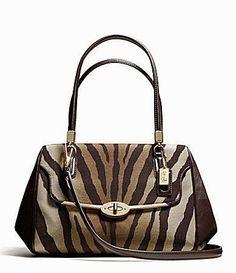 Tas Coach Madison Madeline EW Satchel S (Zebra)  Sebuah cetak zebra kustom pada kain faille elegan mengubah tas kompak dengan warna grafis d...
