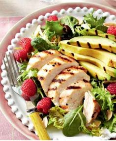Chicken, Avocado & Raspberry salad #salads #chicken #avocado #raspberry