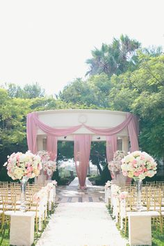PINK -- as far as the eye can see! See it on http://www.StyleMePretty.com/california-weddings/2014/03/31/romantic-pink-white-wedding-at-st-regis-monarch-beach/ Onelove Photography - onelove-photo.com on #smp