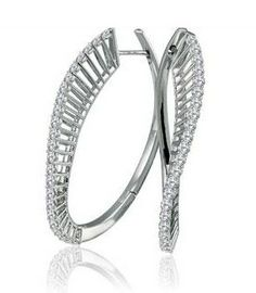 Large Unique Twisted Diamond Hoop Earrings