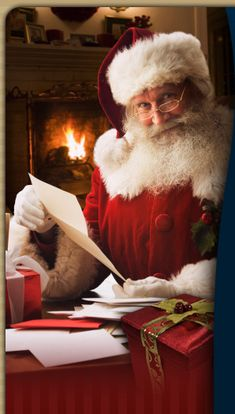Santa...checking his list and reading letters from children.  Writing letters to Santa Claus has been a Christmas tradition for children for many years. These letters normally contain a wishlist of toys and assertions of good behavior.