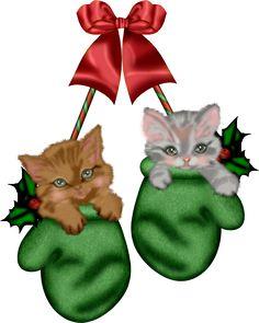 CHRISTMAS KITTY MITTENS CLIP ART