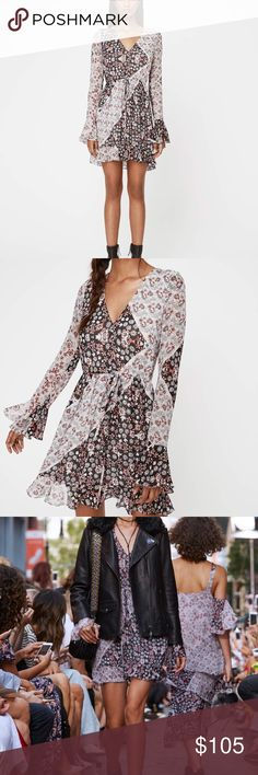 Rebecca Minkoff June Dress in Tricolor A patchwork of mini floral patterns accents this delicate Rebecca Minkoff dress. Deep V neckline and drawstring waist. Long sleeves with ruffled cuffs. Double layered. Colors are reversed on size 4. Brand new with tags Rebecca Minkoff Dresses Long Sleeve