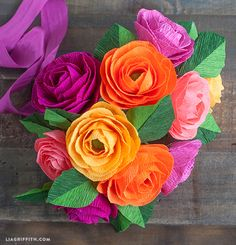 Make a Crepe Paper Ranunculus Bouquet with Lemon Leaves