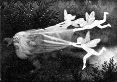 """swordofsteel: """" """"Lysalver Fanger Skyggetussen"""" (vaguely translated to """"the light elves catches the shadow troll"""") by Theodor Severin Kittelsen """" Theodore Kittelsen, Illustration, Painting, Art, Dark Art, Fairy Tales, Nature Paintings, Purchasing Art, Most Popular Artists"""